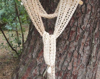 Scarf, scarf, neck scarf openwork crochet cotton in shades of ecru and white broken light