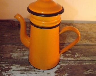 French Enamel Coffee Pot. Orange Enamelware Coffee Maker.