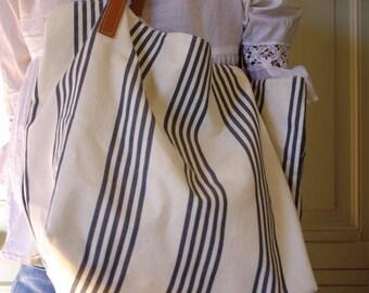 grey striped ecru bag - unique