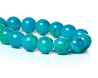 Set of 5 glass beads - turquoise - 8 mm