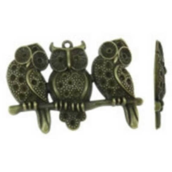 "1 large charm ""triple OWL"" bronze size 58 x 41 mm"