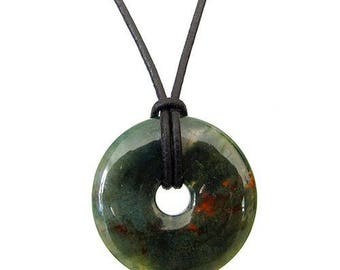 Chinese pi 30mm - Moss agate donut pendant necklace