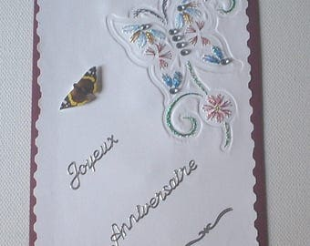 1 embroidered Butterfly greeting card