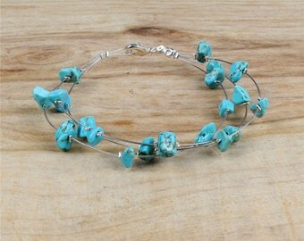 Beautiful Pearl turquoise chips bracelet