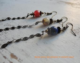 Long blue stone earrings semi precious