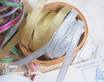 10 meters 3mm/8mm/10mm Metallic, Sparkle Organza Ribbon, Gold, Silver, Wired Ribbon