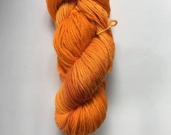 Orange and Yellow Orange Hand Dyed Worsted Weight Wool