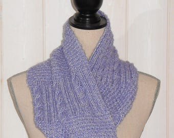 Violet-purple color hand knitted Snood.