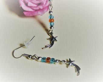 Blue and orange beads and shooting star earrings