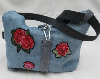 Denim handbag with rose #005