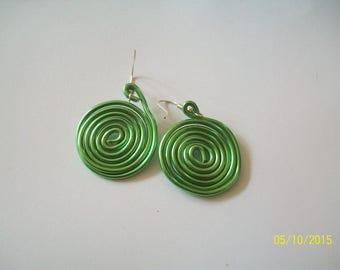 Green Aluminum wire earring