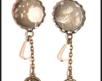White dandelion flower earring