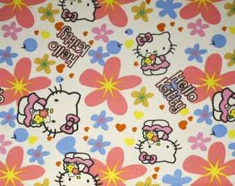Cotton fabric cat with flowers (made to order)