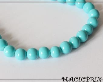 SET of 25 glass beads dyed Turquoise Ø 8 mm 1345