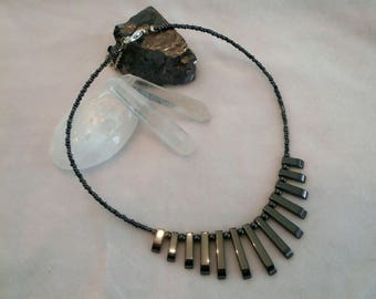 Necklace Choker-natural Hematite beads