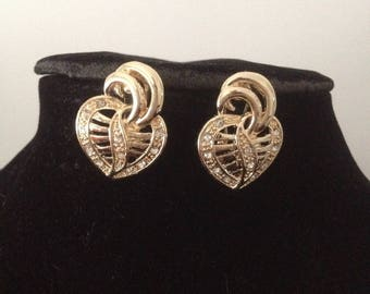 Earrings plated gold heart with Rhinestones