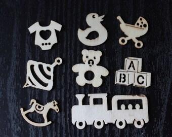 set of 8 craft theme birthday baby