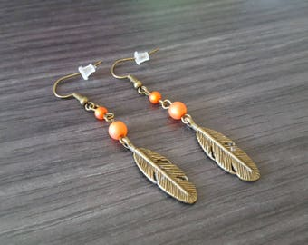 Orange Red Feather earring