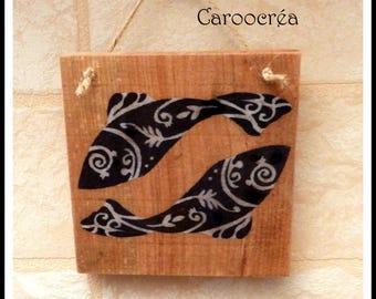"Decorative Panel in solid wood ""Maori fish"""