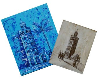 Offered for purchase table Koutoubia mosque charcoal drawing.