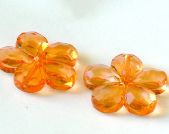 transparent orange flower 30mm x 2 faceted beads