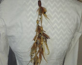 Clip or ponytail country Brown Feather Hat