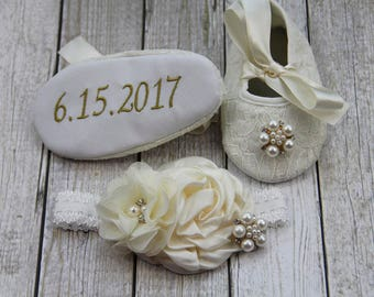 Personalized ivory shoes ivory newborn girl shoes headband ivory hairband ivory baby shoes ivory ballerina shoes ivory baby headband