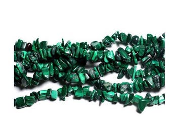 drilled chips malachite beads 40 gr