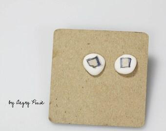 round Stud Earrings tiny porcelain white beige pattern