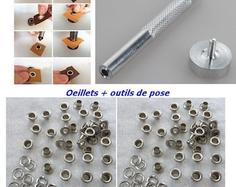 Silver eyelet + setting tools with rondelle 10 mm for DIY curtain hip bag