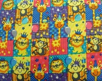 printed cotton fabric pet lion - MULTICOLORED