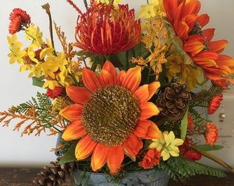 Rustic fall flower arrangement