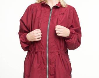 New Balance Windbreaker, Burgundy Jacket, Side Zippers, 5 Pockets, Ladies Medium, Vintage, 80s, 90s Girl