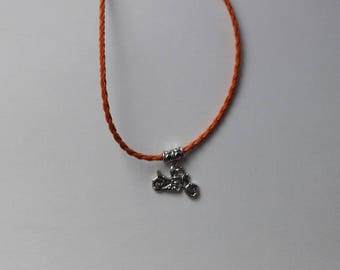 faux leather with harley motorcycle necklace