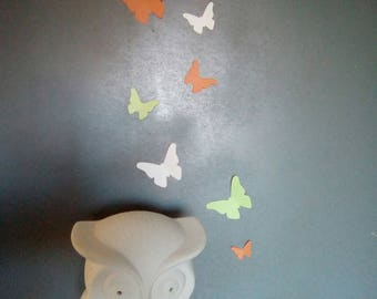 Set of butterfly paper in shades of green orange