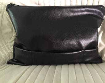 Black faux leather hand bag