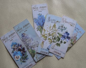 Set of 6 images, tags, embellishments, Garden, flowers, old advertising