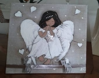 Angel painting in acrylic paint for romantic home decor