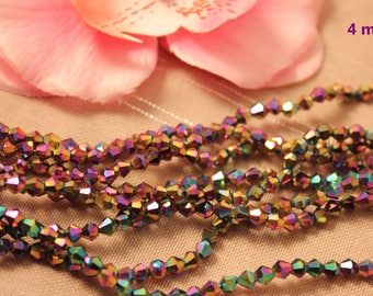 Lot 50 Crystal Bicone 4mm multicolored faceted bicone beads