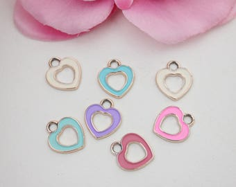 Set of 5 colorful charms 16x14mm - SC59466.