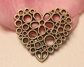 x 5 connector Charm heart flower Ajoure 23x25mm