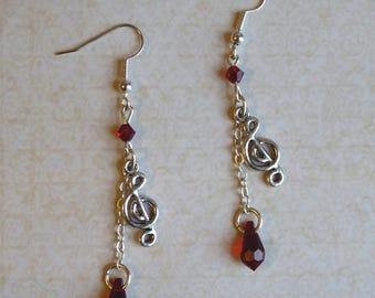 Dangling earrings - Red Symphony