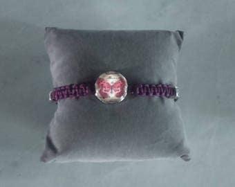 Shamballa bracelet with a snap Butterfly