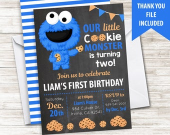 Cookie Invite Invitation Monster Digital 5x7 Chalkboard Inspired Birthday Party Themed ANY AGE