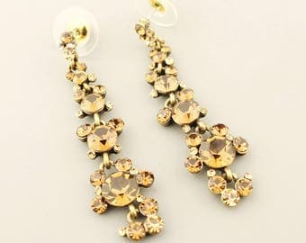 Long Rhinestone Post Earrings, Gold Earrings, Iridescent Hollywood Earrings, Boho