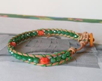 Bracelet type chan luu in shades of green and orange/wrap bracelet