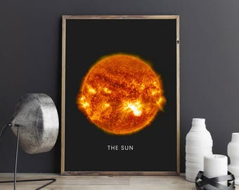 Sun print, Planet printable art, Planet poster, Modern art, Minimalist, Universe wall decor, Home decor, Space art, Best selling prints