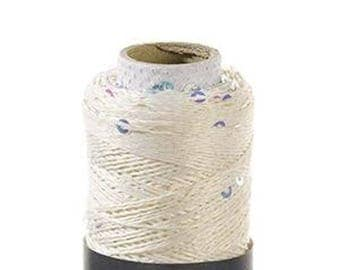 Off-white LUMIAC Bergère de France, glitter yarn