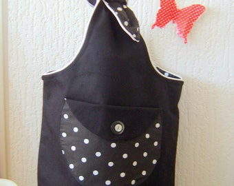 Black lining bag with white dots