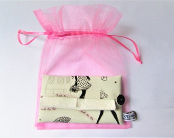 Handkerchiefs 'Paris' girly girl case retro leatherette case, put tissues, accessory pocket bag, gift for her, made in France